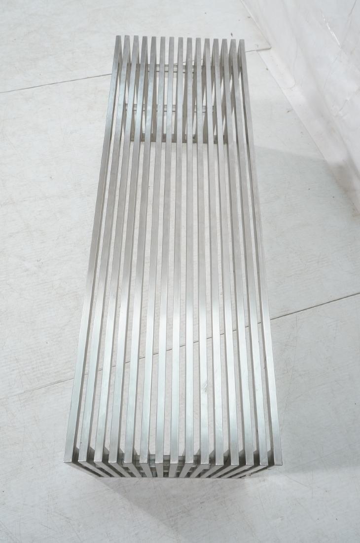 Stainless Steel Modernist Slat Bench. Contemporar - 4