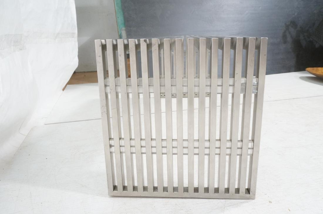 Stainless Steel Modernist Slat Bench. Contemporar - 5