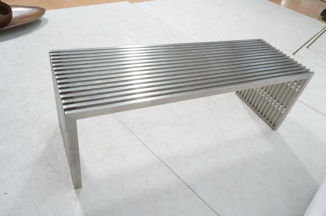 Stainless Steel Modernist Slat Bench. Contemporar - 6
