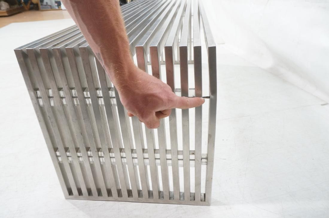 Stainless Steel Modernist Slat Bench. Contemporar - 7