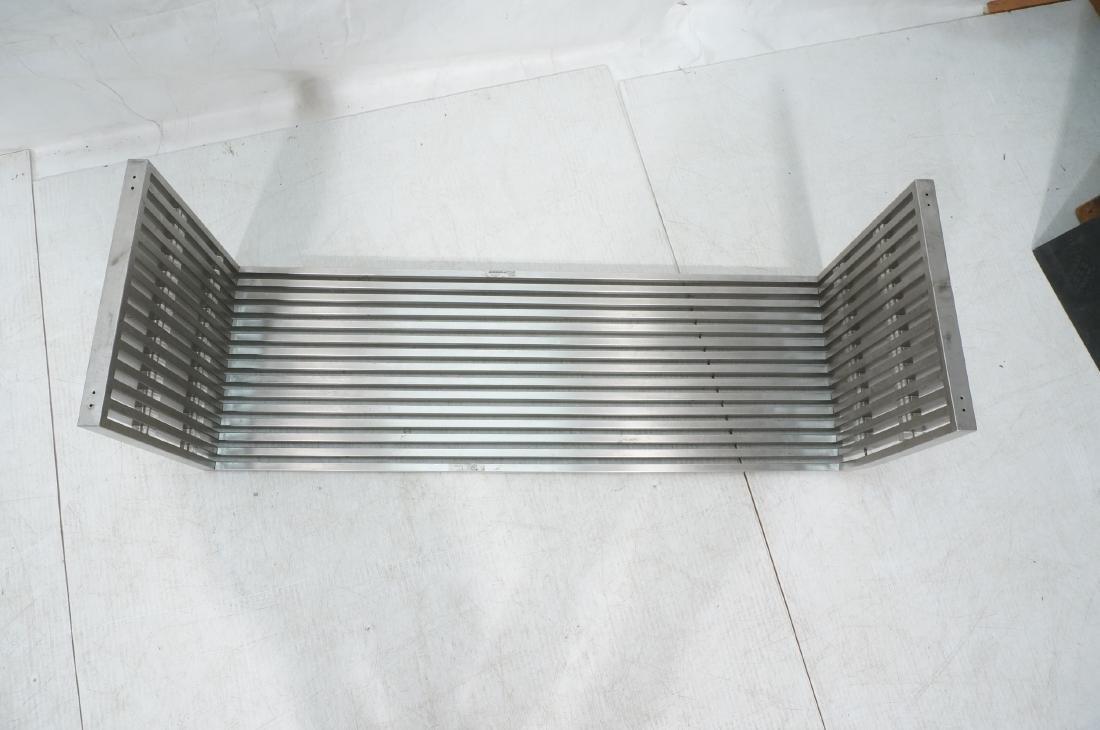 Stainless Steel Modernist Slat Bench. Contemporar - 8