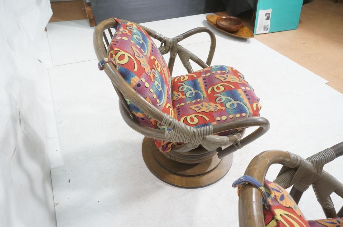 Pr VOGUE Rattan Swivel Miami Modern Lounge Chairs - 5
