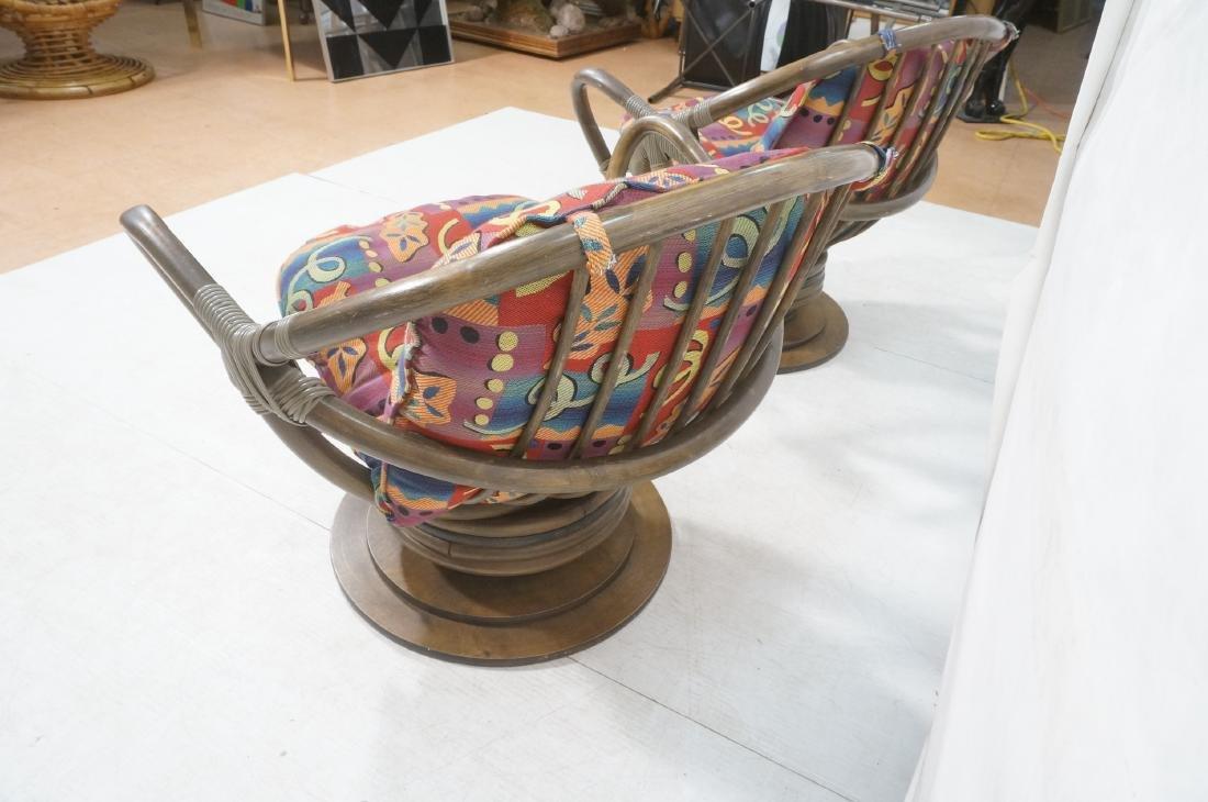 Pr VOGUE Rattan Swivel Miami Modern Lounge Chairs - 6