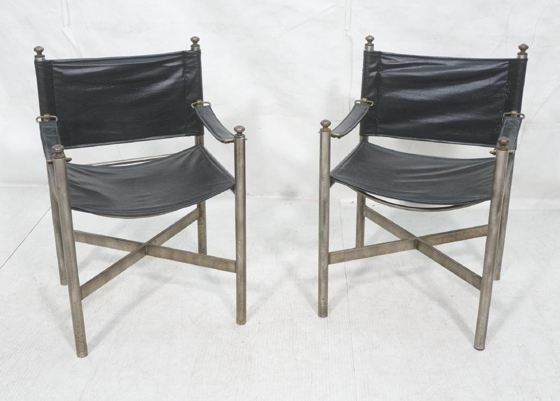 Pr of Campaign Style Stainless Armchairs. Moderni