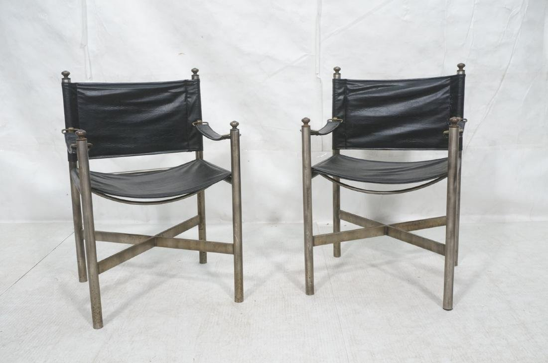 Pr of Campaign Style Stainless Armchairs. Moderni - 2