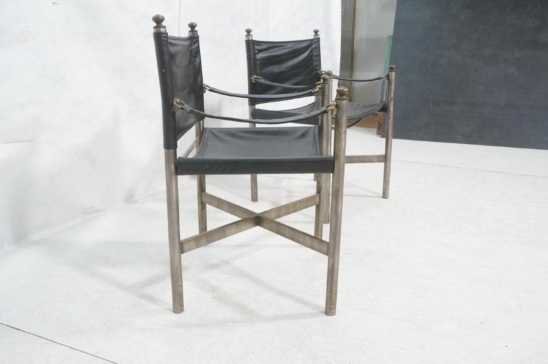Pr of Campaign Style Stainless Armchairs. Moderni - 3