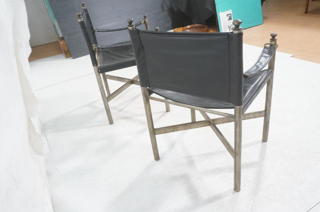 Pr of Campaign Style Stainless Armchairs. Moderni - 4
