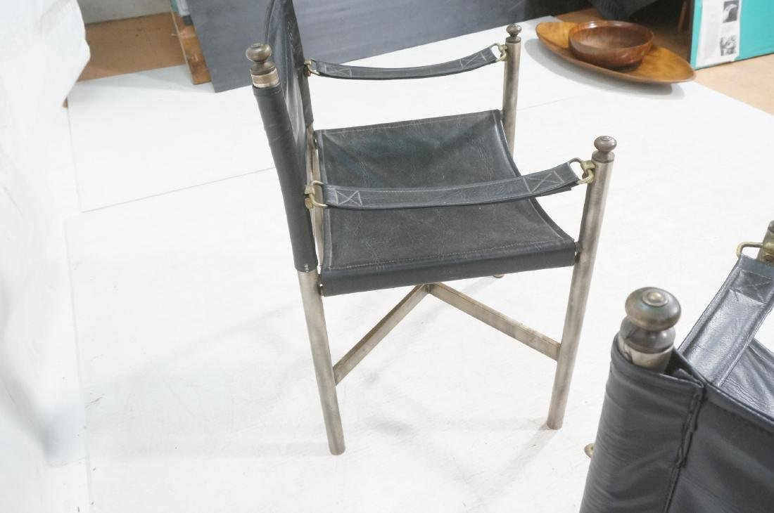 Pr of Campaign Style Stainless Armchairs. Moderni - 5