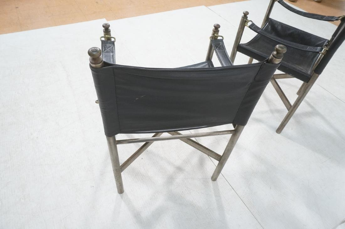 Pr of Campaign Style Stainless Armchairs. Moderni - 6