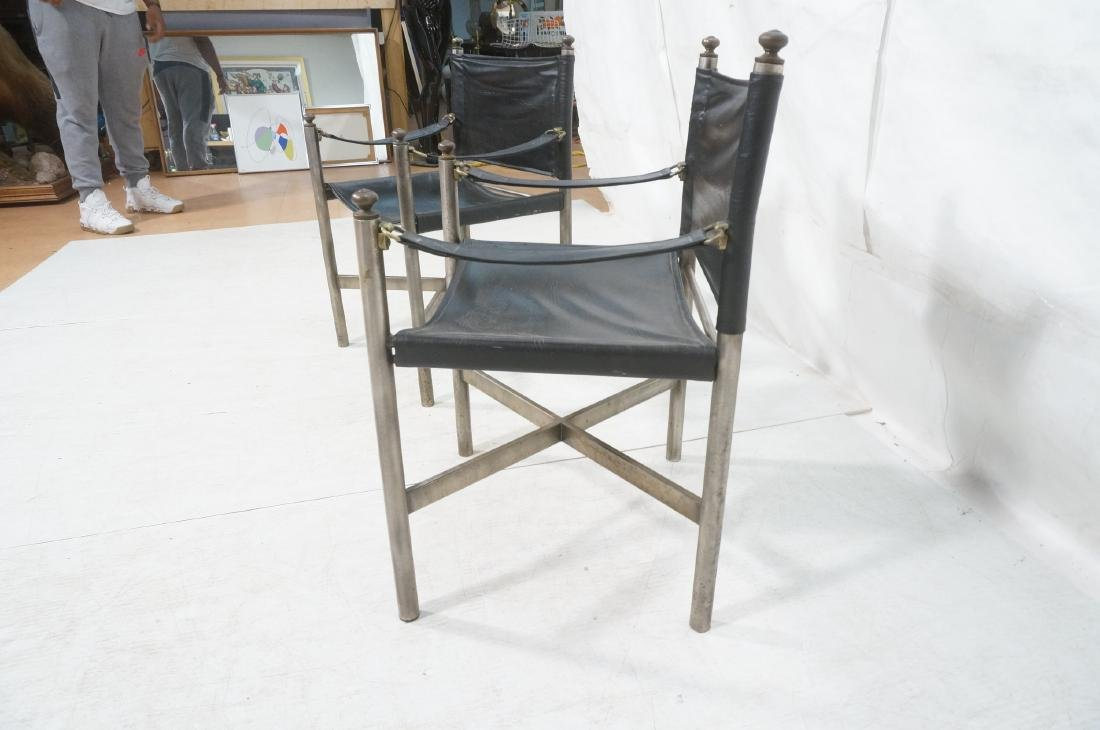 Pr of Campaign Style Stainless Armchairs. Moderni - 7