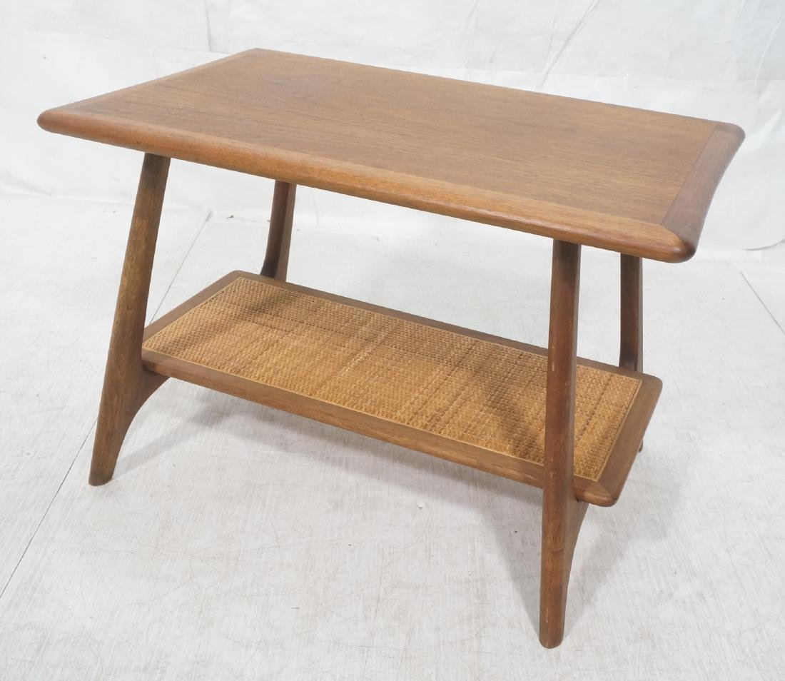 Modernist Wood Side Table. Lower level with woven