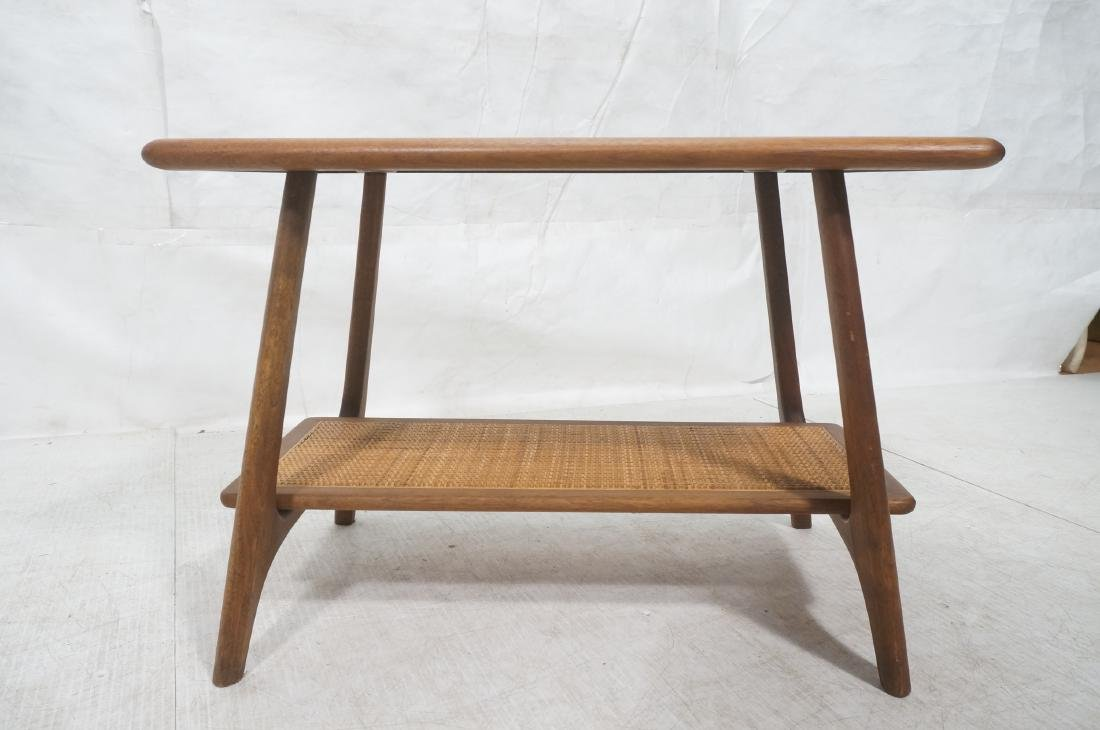 Modernist Wood Side Table. Lower level with woven - 2