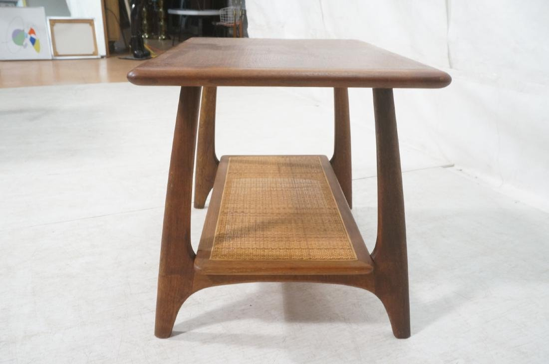Modernist Wood Side Table. Lower level with woven - 4