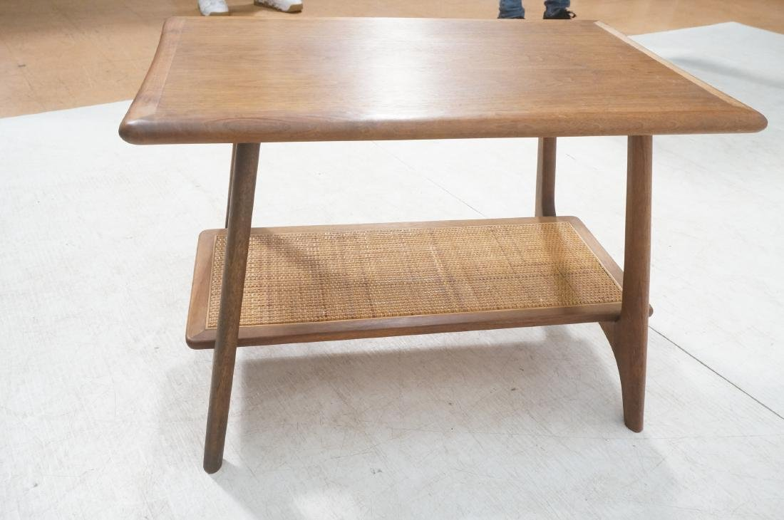 Modernist Wood Side Table. Lower level with woven - 5