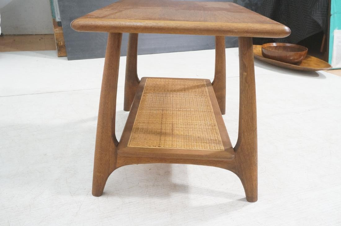 Modernist Wood Side Table. Lower level with woven - 6