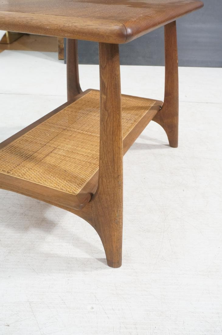 Modernist Wood Side Table. Lower level with woven - 7
