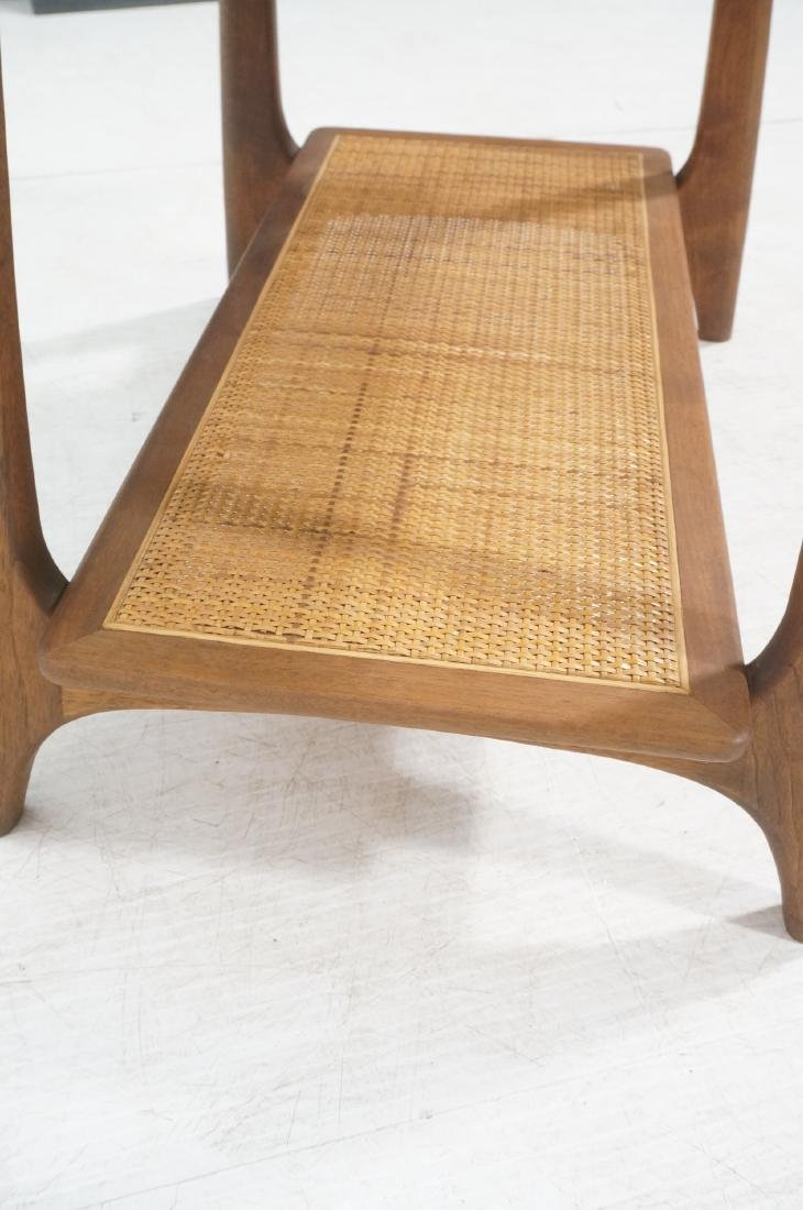Modernist Wood Side Table. Lower level with woven - 8