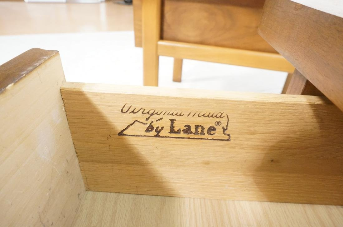 Pr LANE Banded Top Side Tables. American modern w - 12