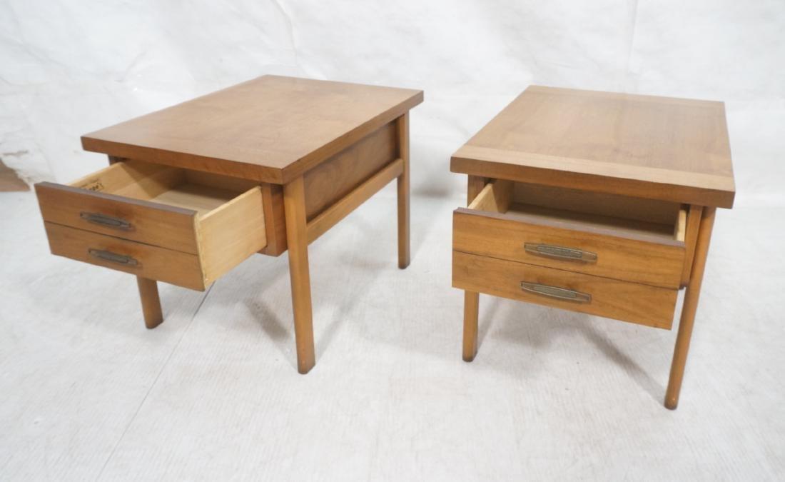 Pr LANE Banded Top Side Tables. American modern w - 13
