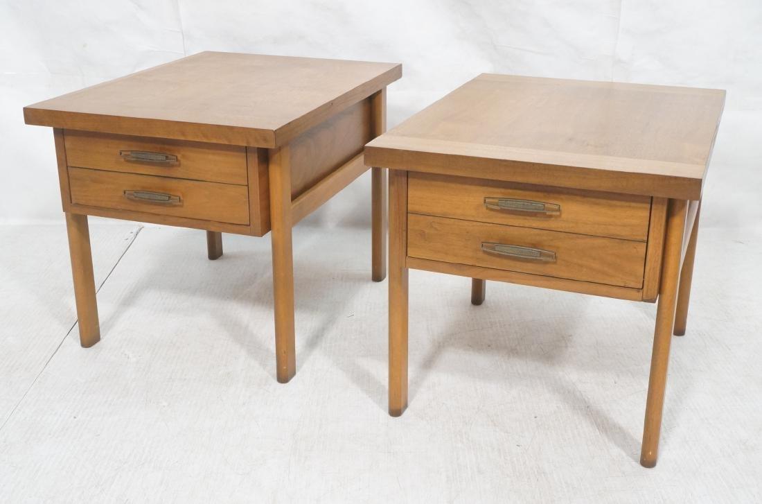 Pr LANE Banded Top Side Tables. American modern w