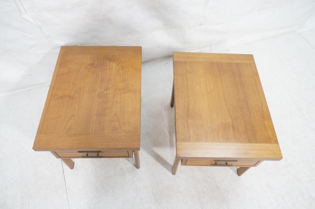 Pr LANE Banded Top Side Tables. American modern w - 3