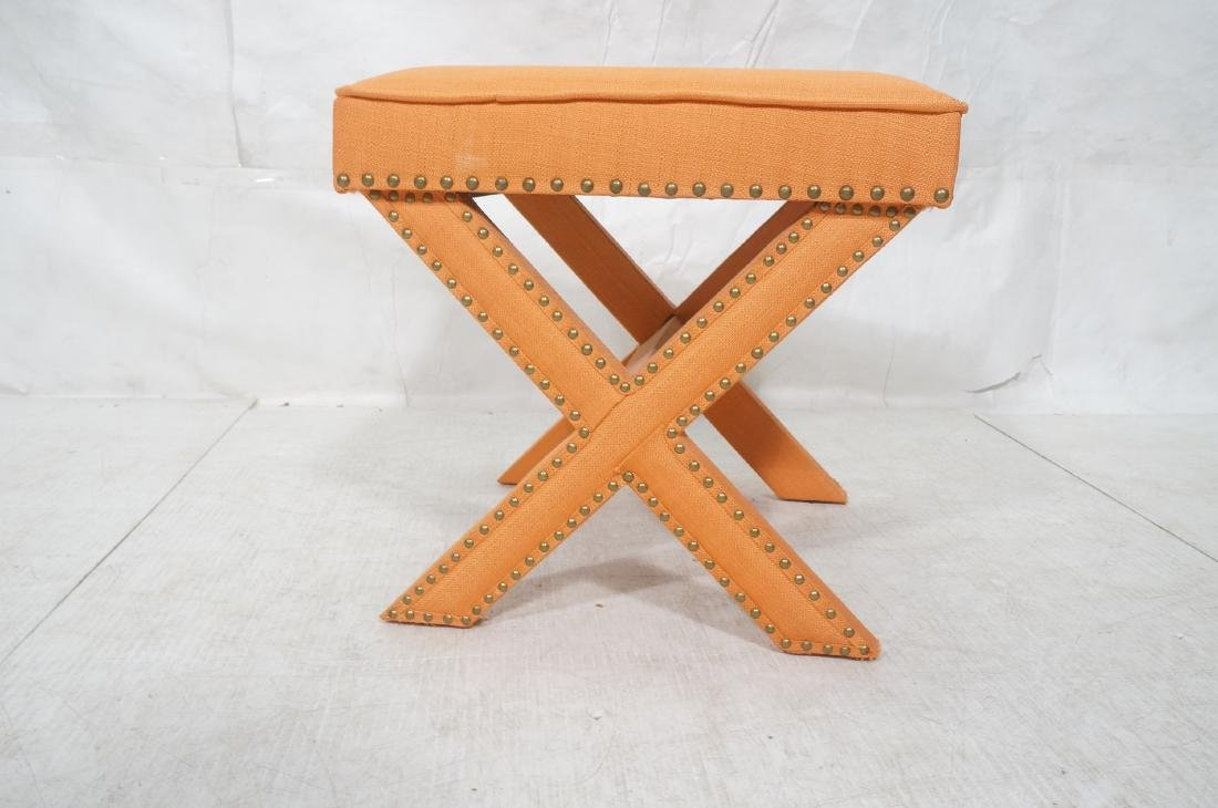 BILLY BALDWIN Style Upholstered Bench Stool. Peac - 2