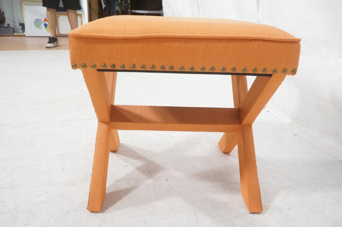 BILLY BALDWIN Style Upholstered Bench Stool. Peac - 4