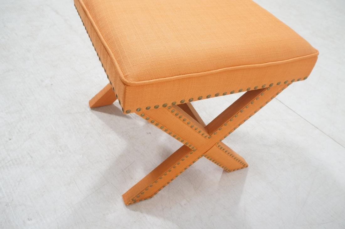 BILLY BALDWIN Style Upholstered Bench Stool. Peac - 5