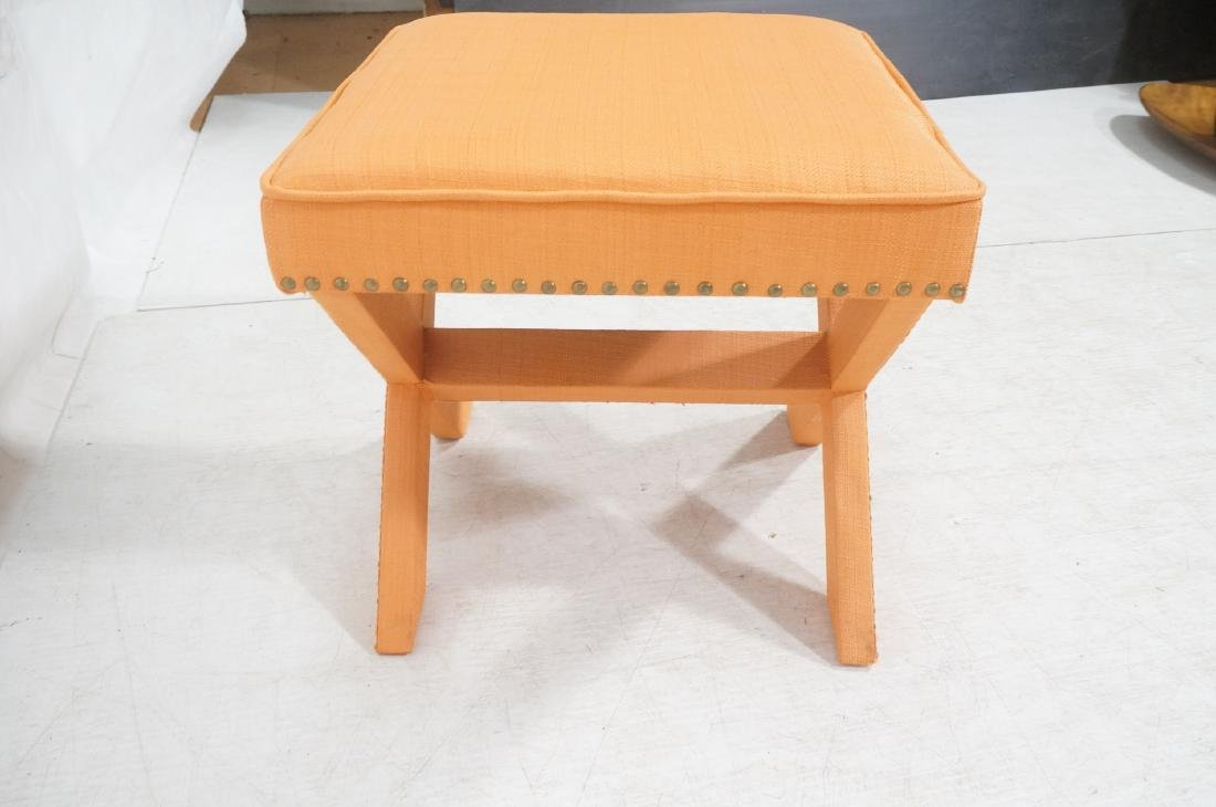 BILLY BALDWIN Style Upholstered Bench Stool. Peac - 6