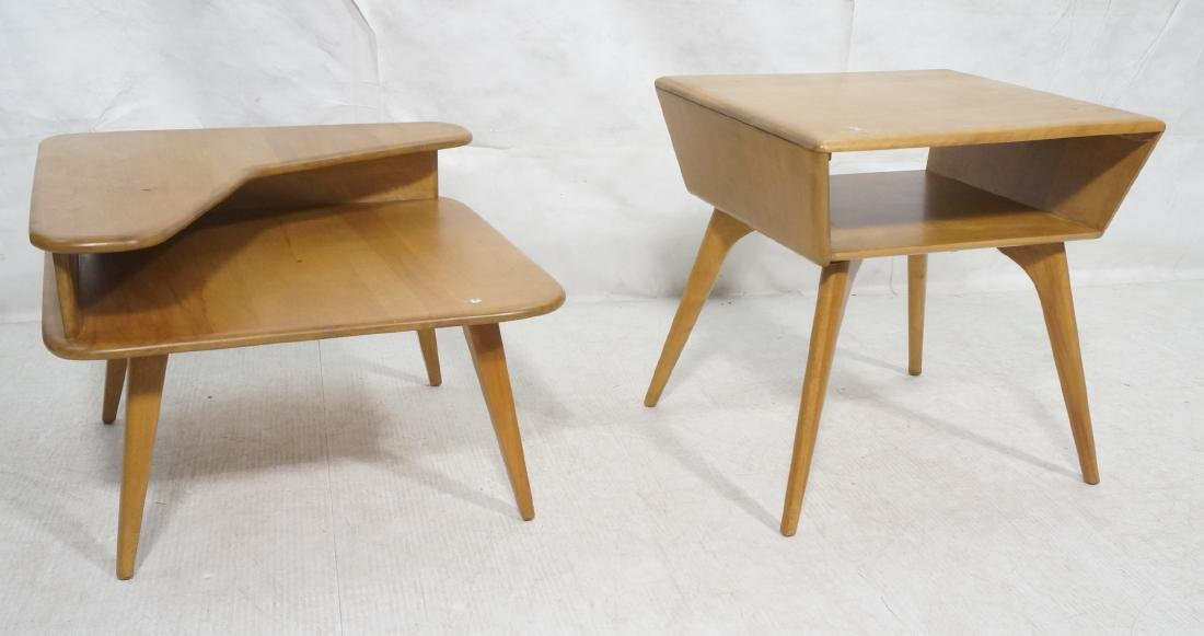 2Pc HEYWOOD WAKEFIELD Modernist Tables. 1) Bi-lev