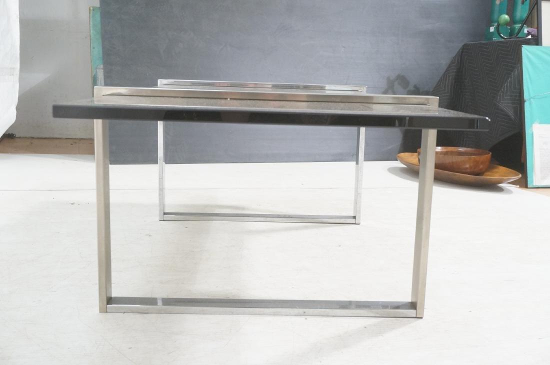 Modernist Chromed Steel Smoke Glass Cocktail Coff - 3