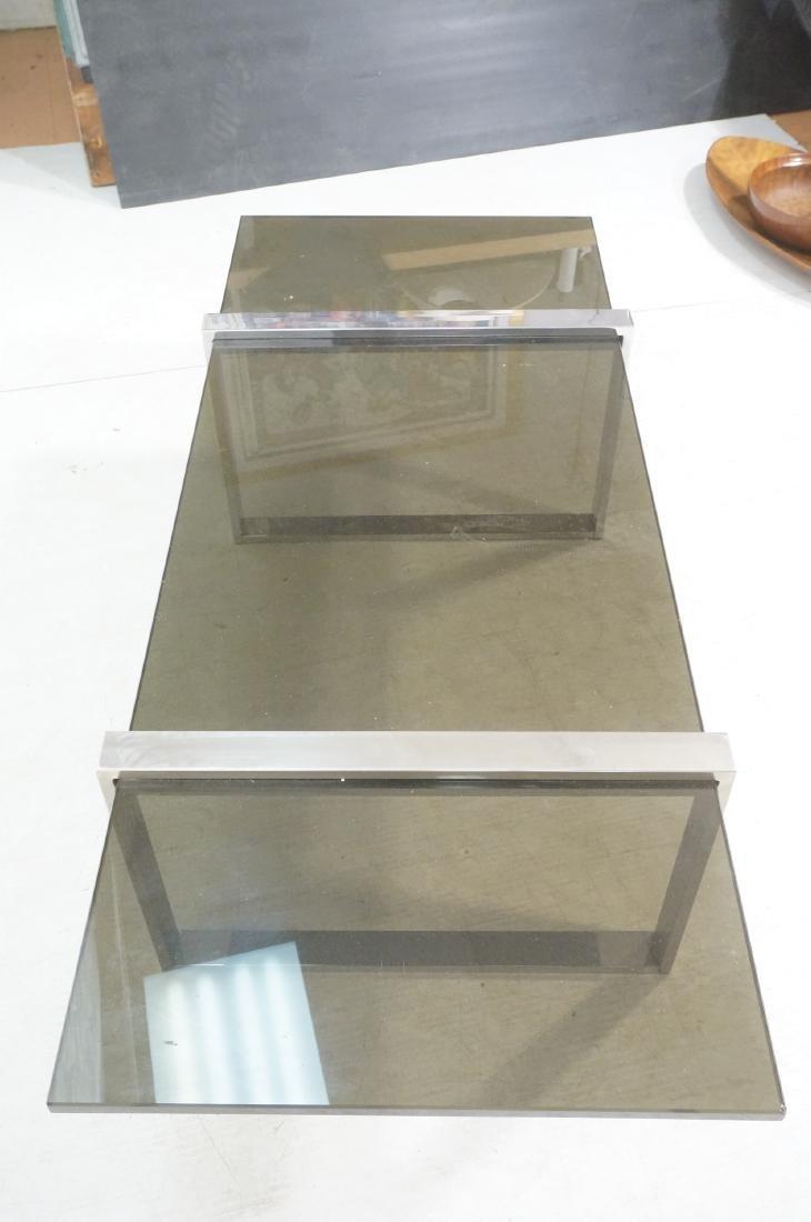 Modernist Chromed Steel Smoke Glass Cocktail Coff - 4