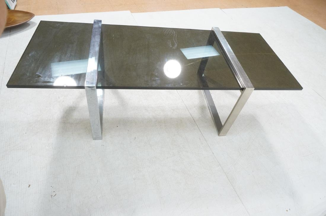 Modernist Chromed Steel Smoke Glass Cocktail Coff - 5