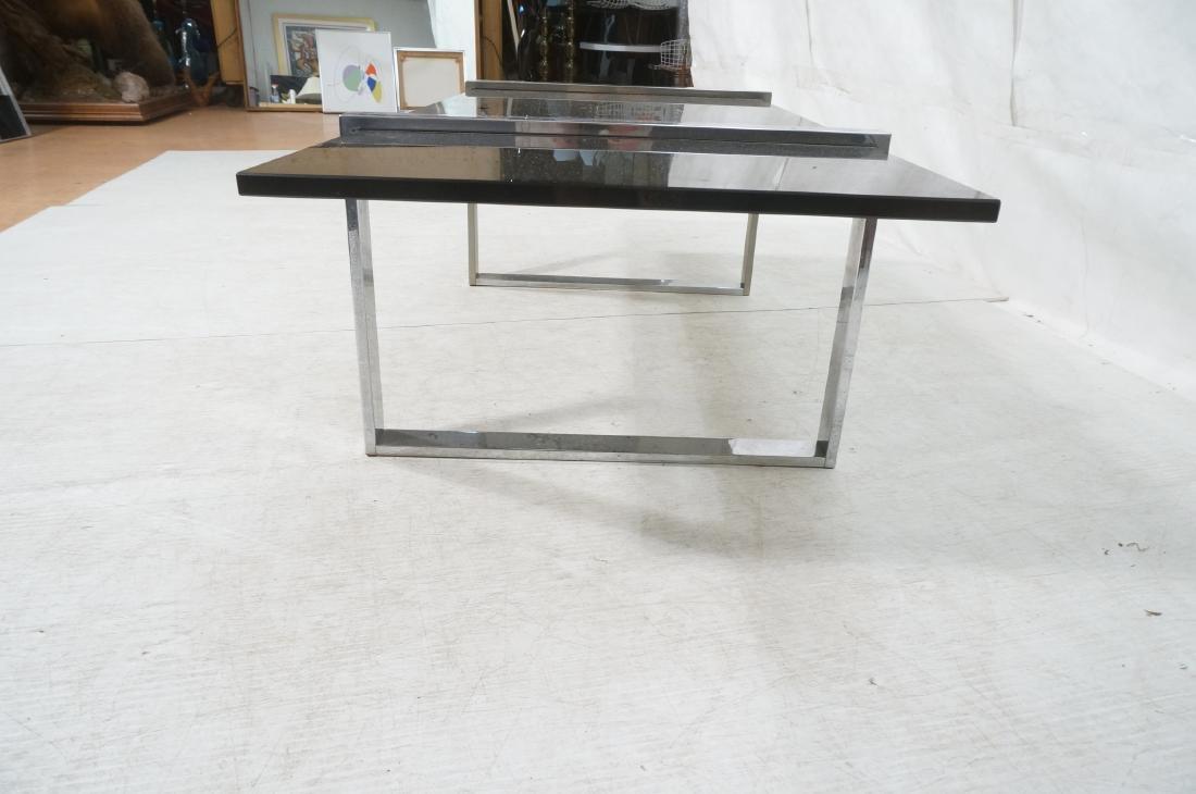 Modernist Chromed Steel Smoke Glass Cocktail Coff - 6