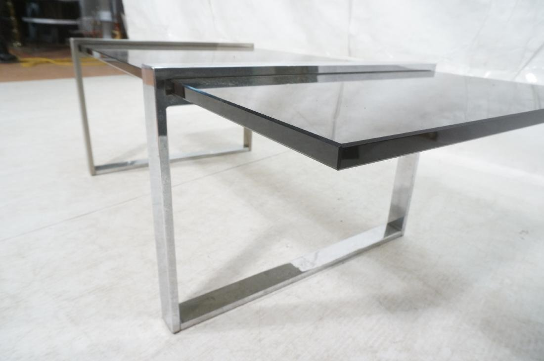 Modernist Chromed Steel Smoke Glass Cocktail Coff - 7
