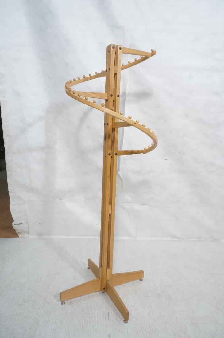 Modernist Oak Floor Model Coat Rack. Tall 4 part - 2