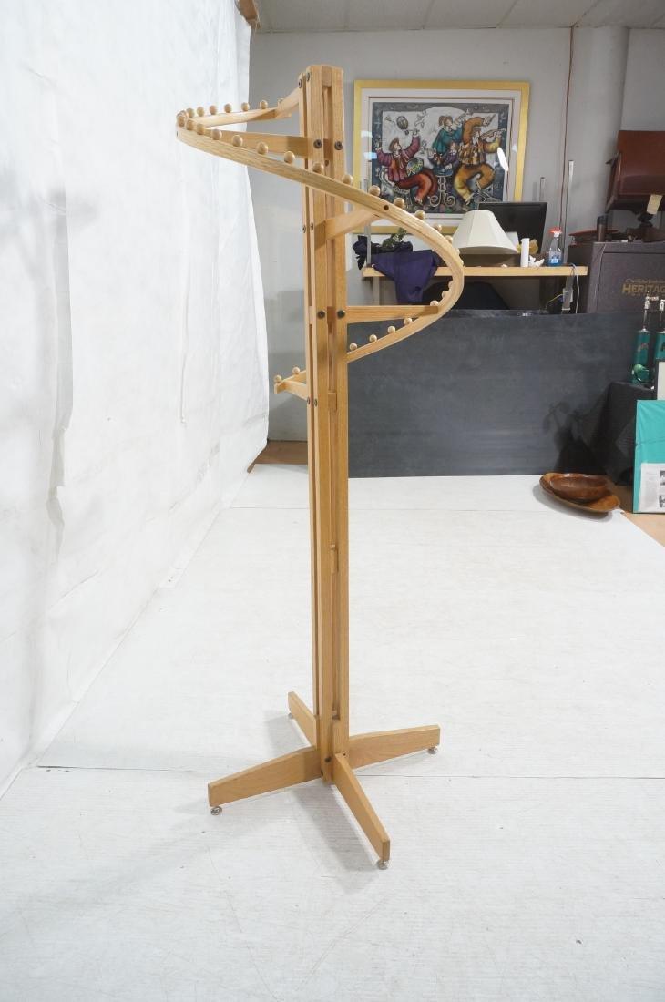 Modernist Oak Floor Model Coat Rack. Tall 4 part - 3