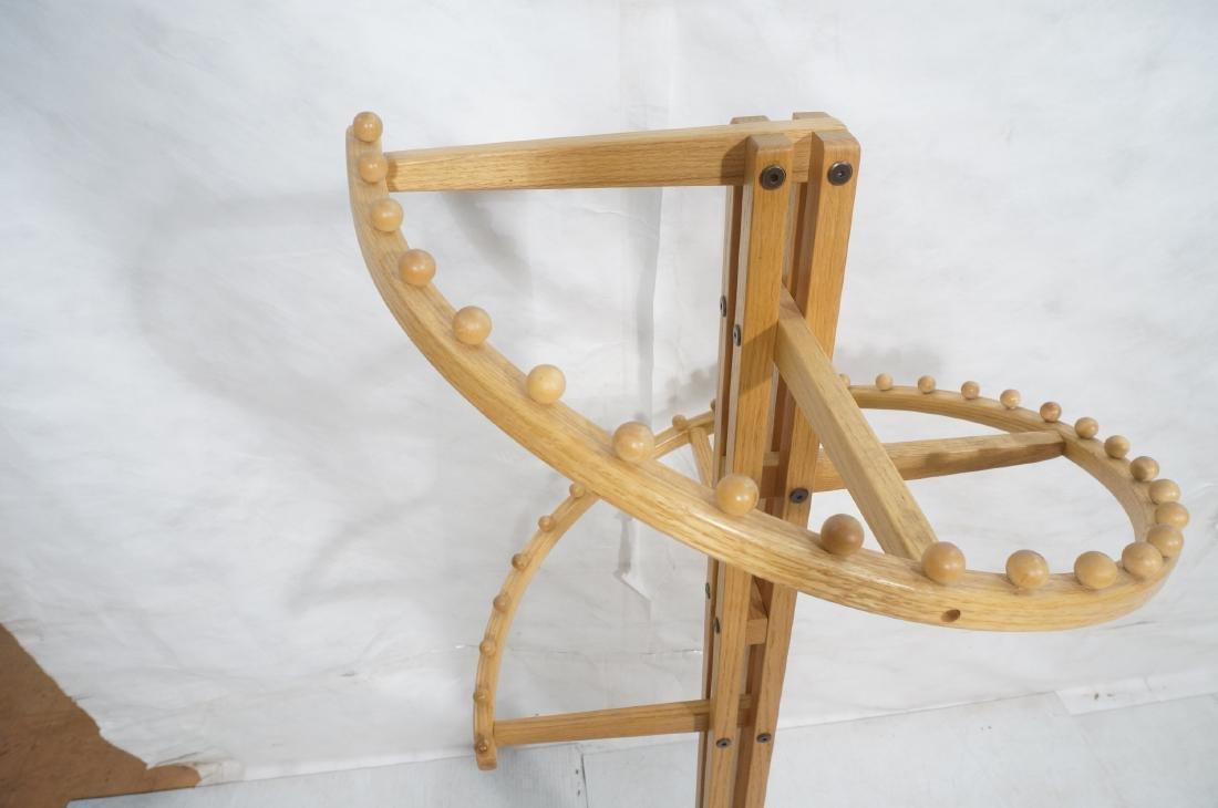 Modernist Oak Floor Model Coat Rack. Tall 4 part - 5
