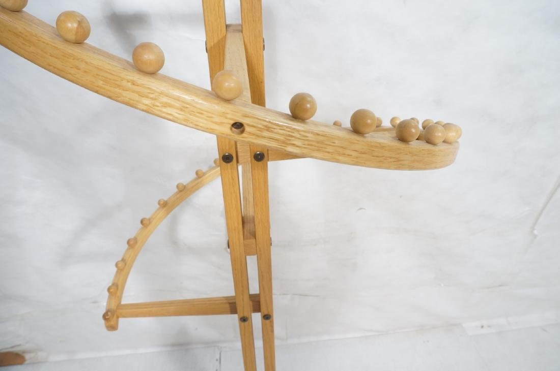 Modernist Oak Floor Model Coat Rack. Tall 4 part - 6