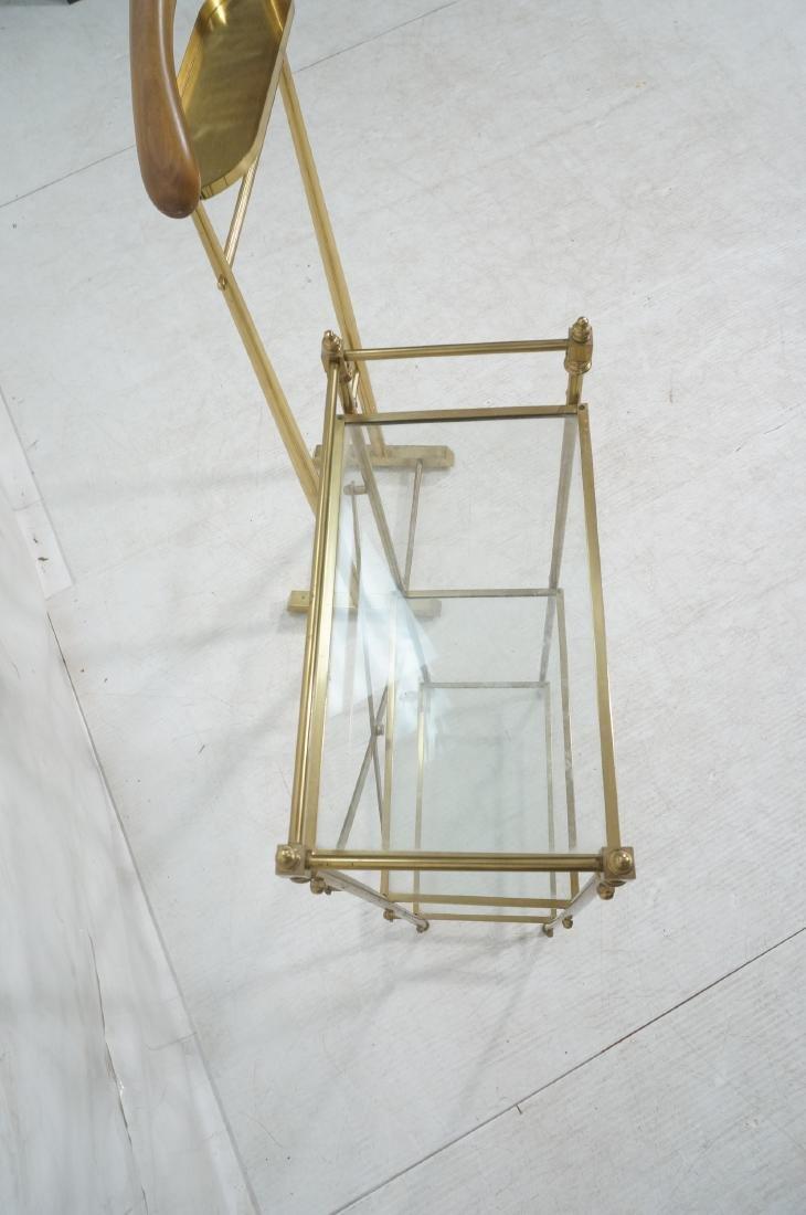2Pc Modernist Brass Lot. 1) Italian style wood an - 11