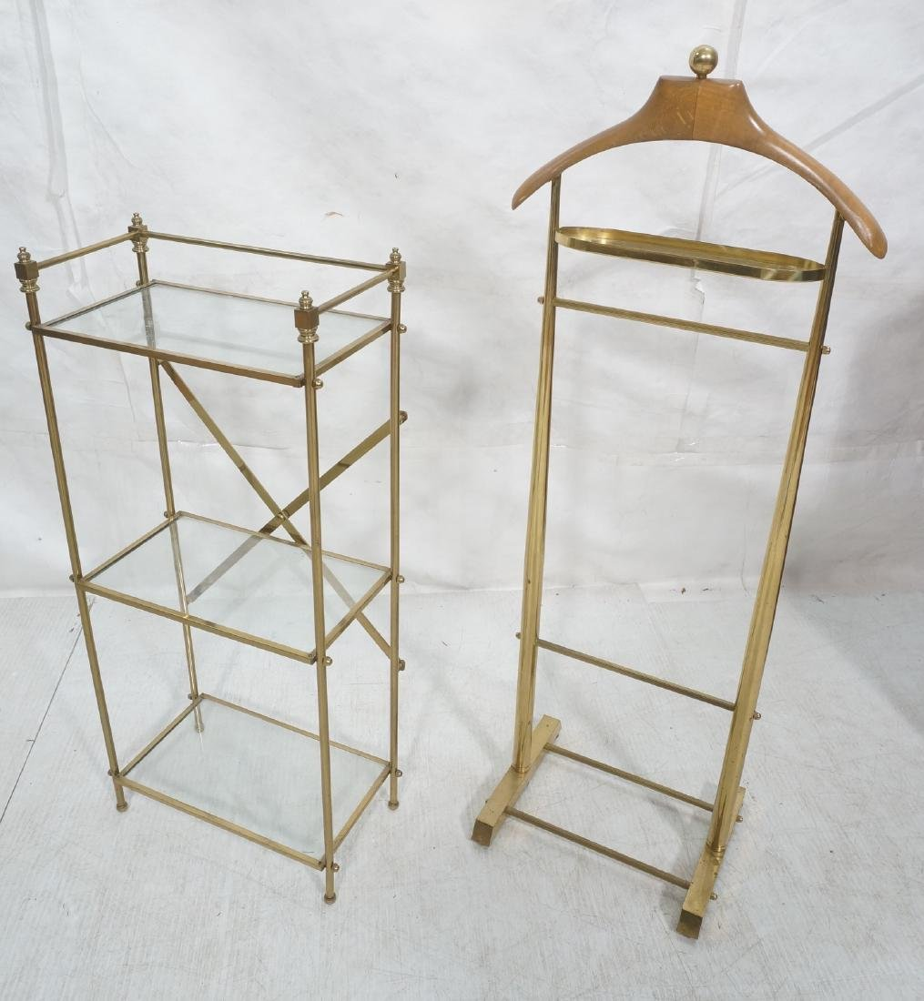 2Pc Modernist Brass Lot. 1) Italian style wood an