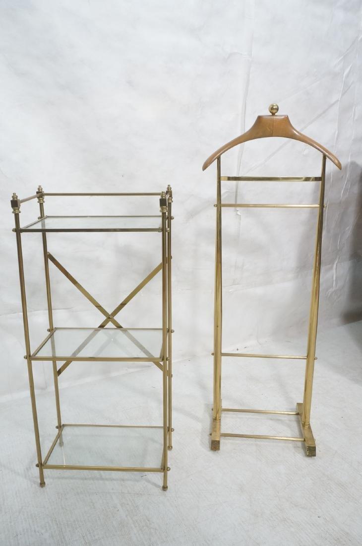 2Pc Modernist Brass Lot. 1) Italian style wood an - 2