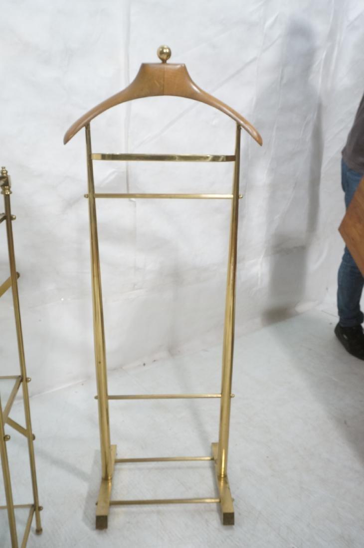 2Pc Modernist Brass Lot. 1) Italian style wood an - 3