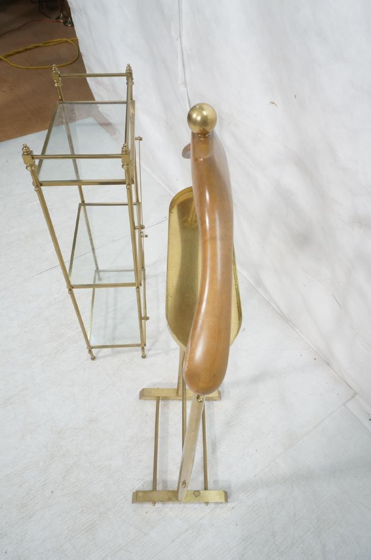 2Pc Modernist Brass Lot. 1) Italian style wood an - 5