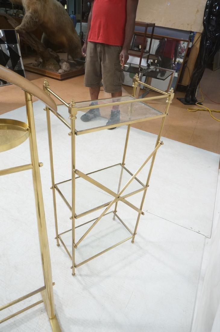 2Pc Modernist Brass Lot. 1) Italian style wood an - 7