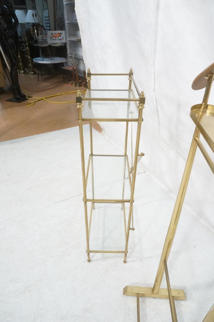 2Pc Modernist Brass Lot. 1) Italian style wood an - 8