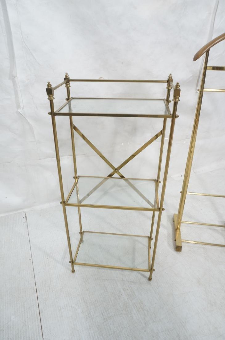 2Pc Modernist Brass Lot. 1) Italian style wood an - 9