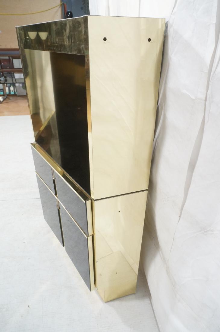 2Pc Modernist Brass Bar Cabinets. Black and brass - 10