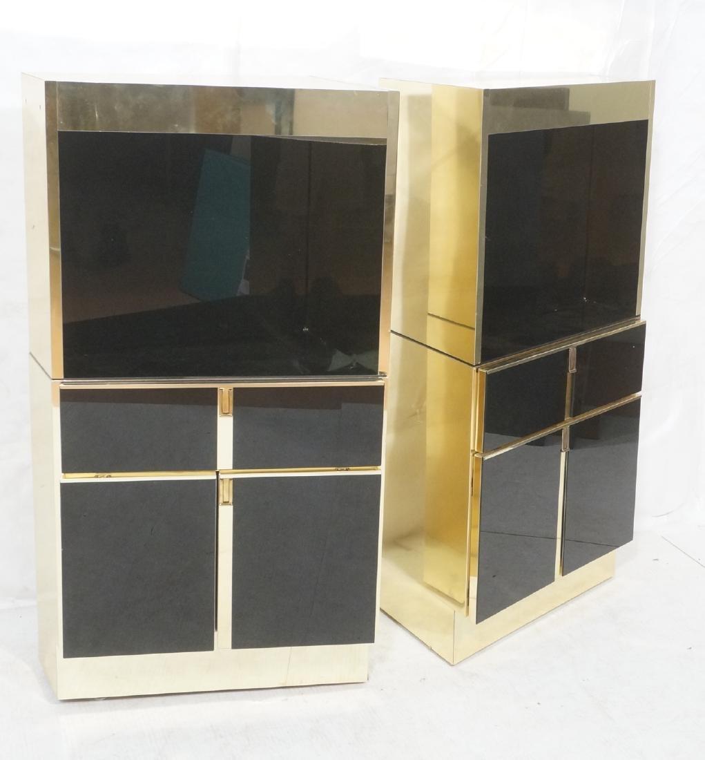 2Pc Modernist Brass Bar Cabinets. Black and brass