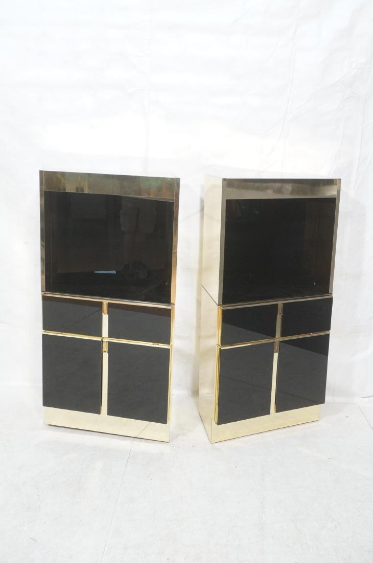2Pc Modernist Brass Bar Cabinets. Black and brass - 2